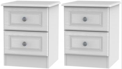 2 X Pembroke White 2 Drawer Bedside Cabinet (Pair)