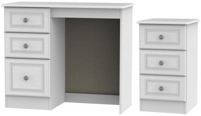 Pembroke White 2 Piece Bedroom Set with 3 Drawer Bedside