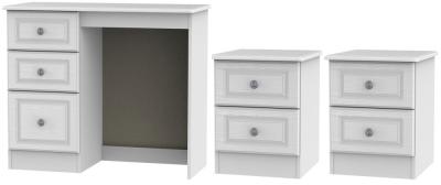 Pembroke White 3 Piece Bedroom Set with 2 Drawer Bedside