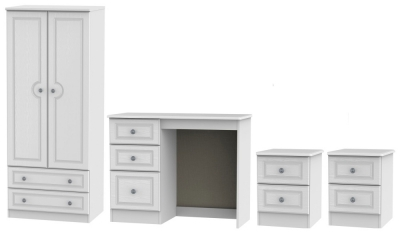 Pembroke White 4 Piece Bedroom Set with 2 Drawer Wardrobe