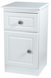 Pembroke White Bedside Cabinet - 1 Door 1 Drawer