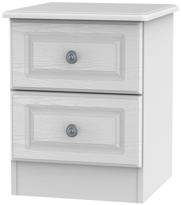 Pembroke White Bedside Cabinet - 2 Drawer Locker