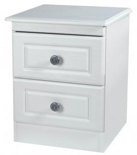 Pembroke White Bedside Cabinet - 2 Drawer