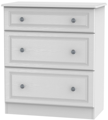 Pembroke White Chest of Drawer - 3 Drawer Deep