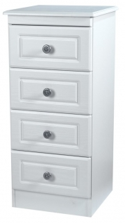 Pembroke White Chest of Drawer - 4 Drawer Narrow
