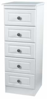Pembroke White Chest of Drawer - 5 Drawer Narrow