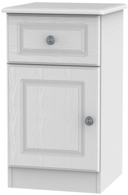 Pembroke White 1 Door 1 Drawer Bedside Cabinet Left Hand Side