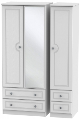 Pembroke White 3 Door 4 Drawer Mirror Wardrobe