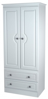 Pembroke White Wardrobe - 2ft 6in 2 Drawer