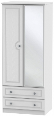 Pembroke White Wardrobe - 2ft 6in with 2 Drawer and Mirror