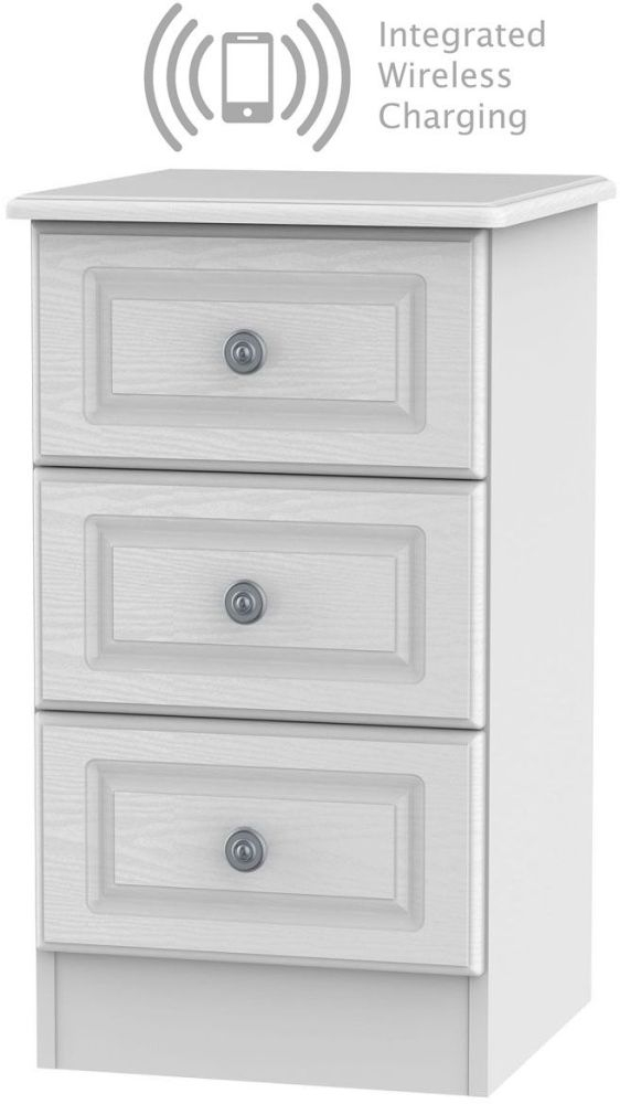 Pembroke White 3 Drawer Bedside Cabinet with Integrated Wireless Charging