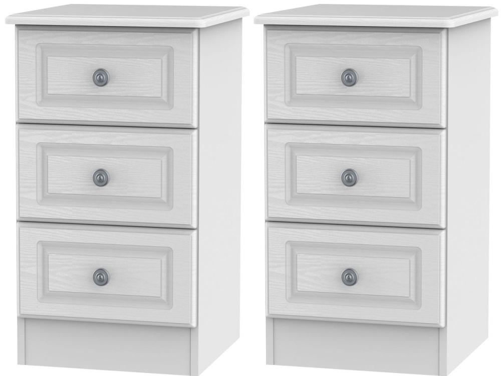 2 X Pembroke White 3 Drawer Bedside Cabinet (Pair)