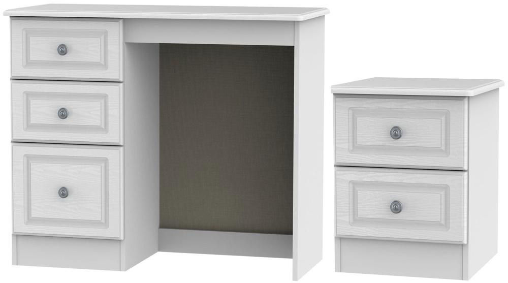Pembroke White 2 Piece Bedroom Set with 2 Drawer Bedside