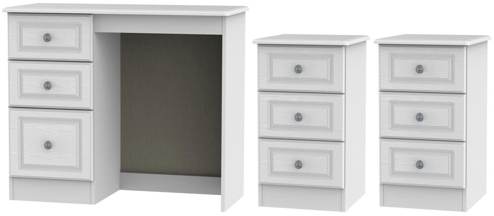 Pembroke White 3 Piece Bedroom Set with 3 Drawer Bedside