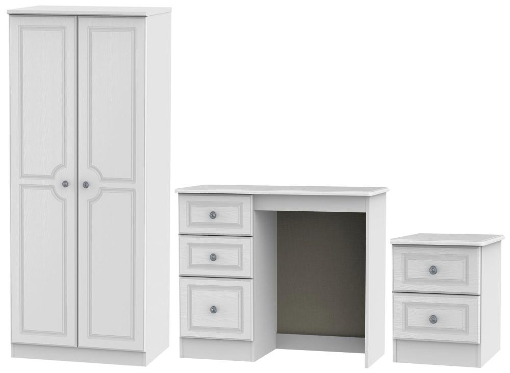 Pembroke White 3 Piece Bedroom Set with 2 Door Wardrobe