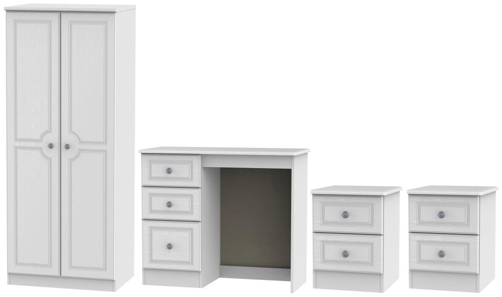 Pembroke White 4 Piece Bedroom Set with 2 Door Wardrobe