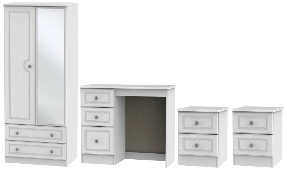 Pembroke White 4 Piece Bedroom Set with Combi Wardrobe