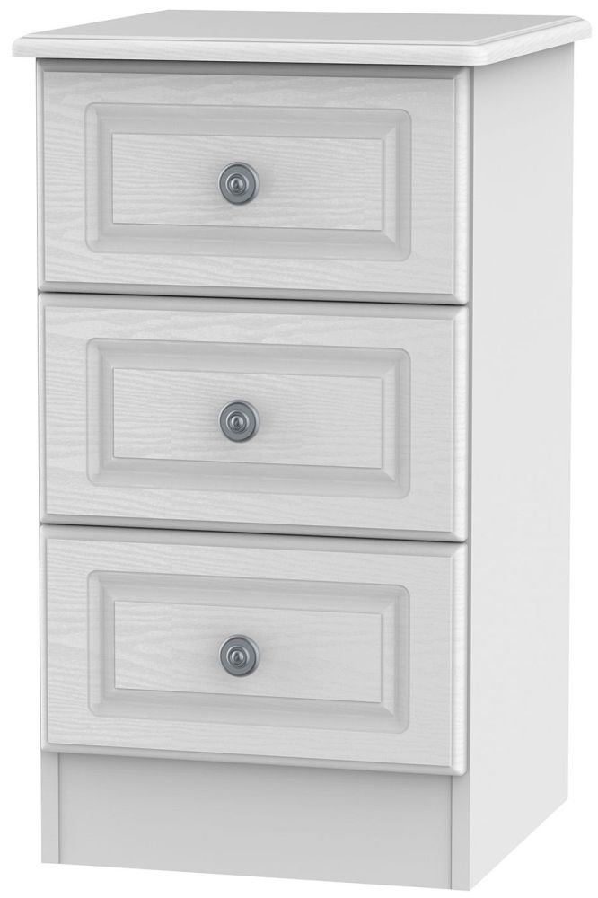 Pembroke White 3 Drawer Locker Bedside Cabinet