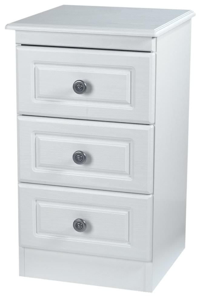 Pembroke White Bedside Cabinet - 3 Drawer