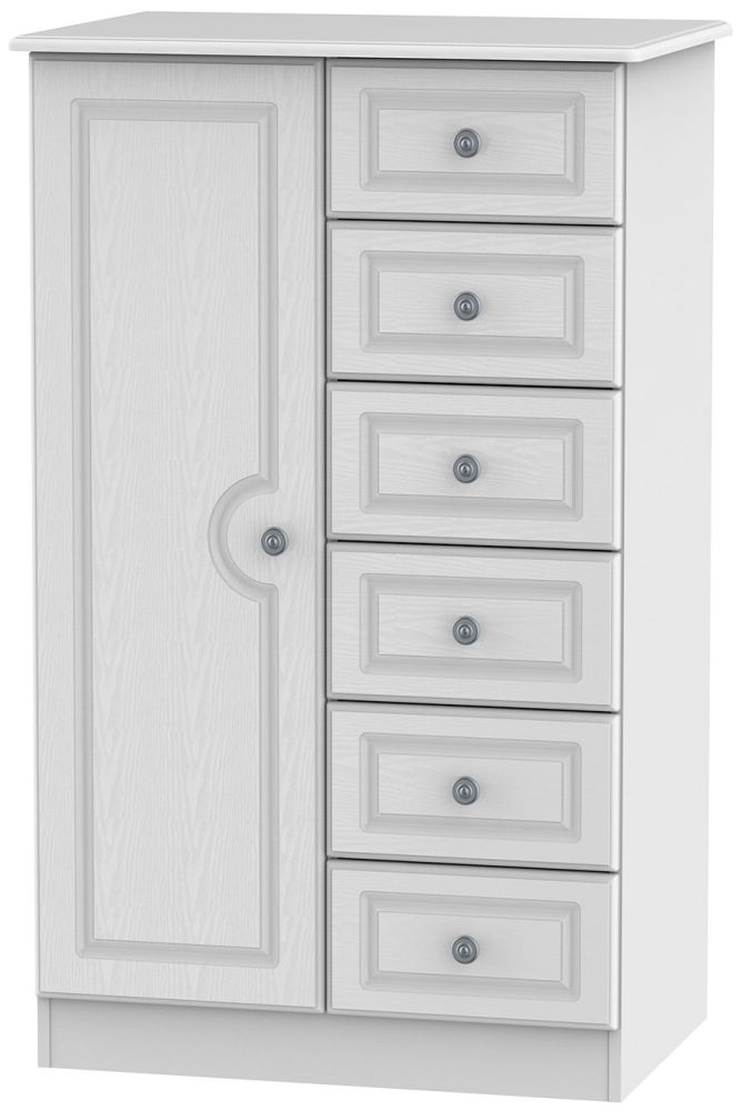 Pembroke White 1 Door 6 Drawer Children Wardrobe