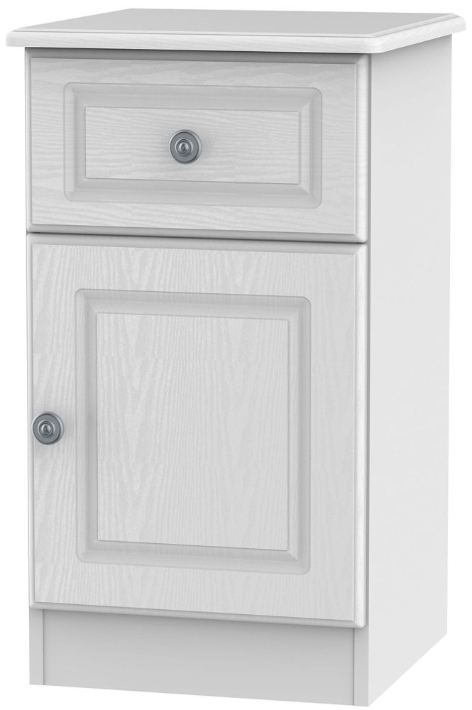 Pembroke White 1 Door 1 Drawer Bedside Cabinet Right Hand Side