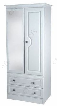 Pembroke White Tall 2ft 6in 2 Drawer Wardrobe with Mirror