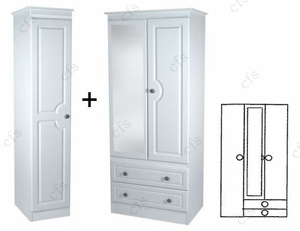Pembroke White Tall Triple 2 Drawer Wardrobe with Mirror