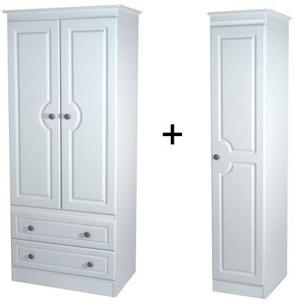 Pembroke White Tall Triple 2 Drawer Wardrobe