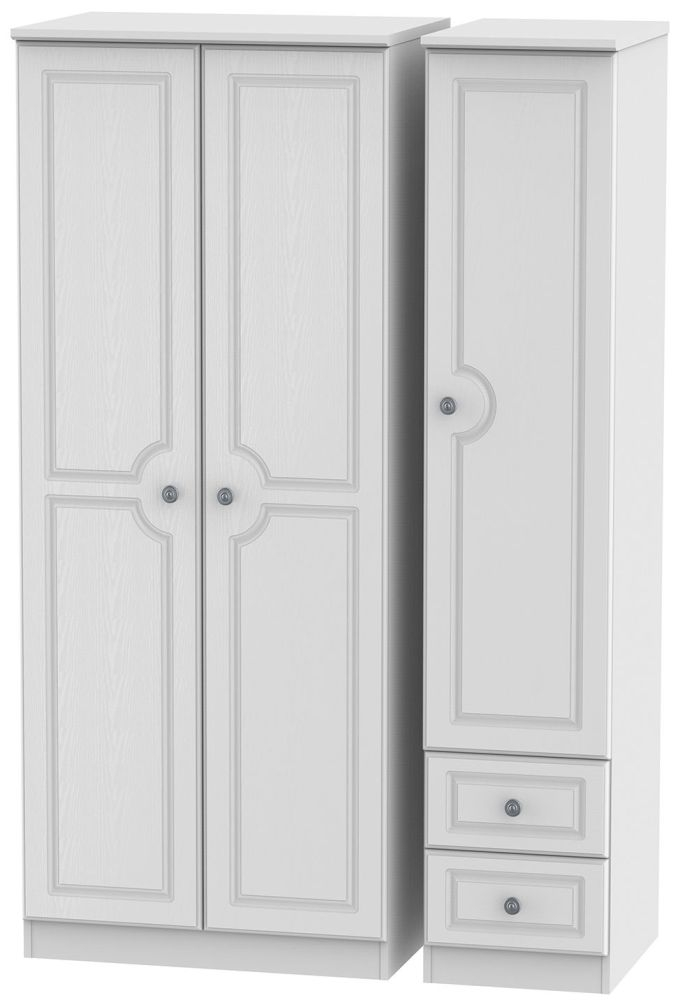 Pembroke White Triple Wardrobe - Plain with 2 Drawer