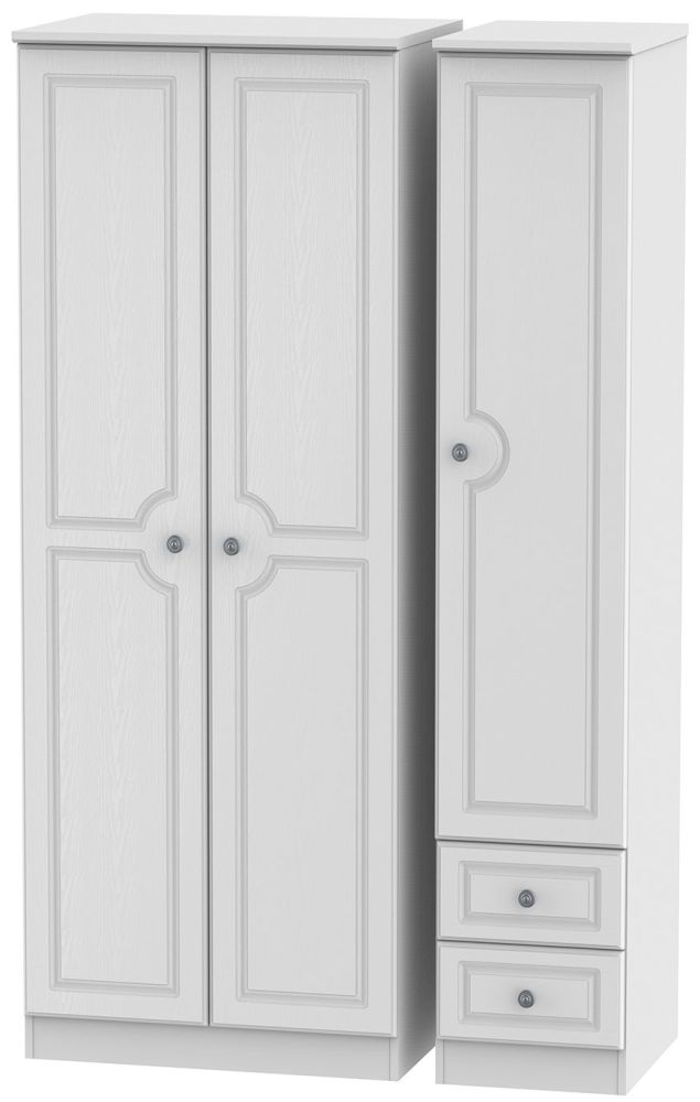 Pembroke White Triple Wardrobe - Tall Plain with 2 Drawer