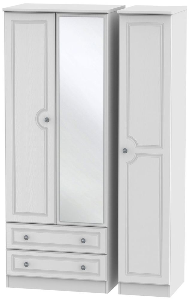 Pembroke White Triple Wardrobe - Tall with 2 Drawer and Mirror