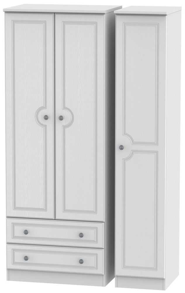 Pembroke White Triple Wardrobe - Tall with 2 Drawer