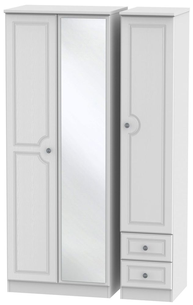 Pembroke White 3 Door 2 Right Drawer Tall Mirror Triple Wardrobe