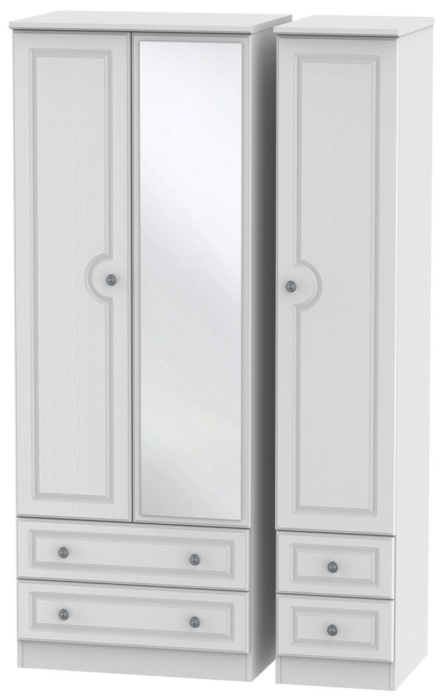 Pembroke White Triple Wardrobe - Tall with Mirror and Drawer
