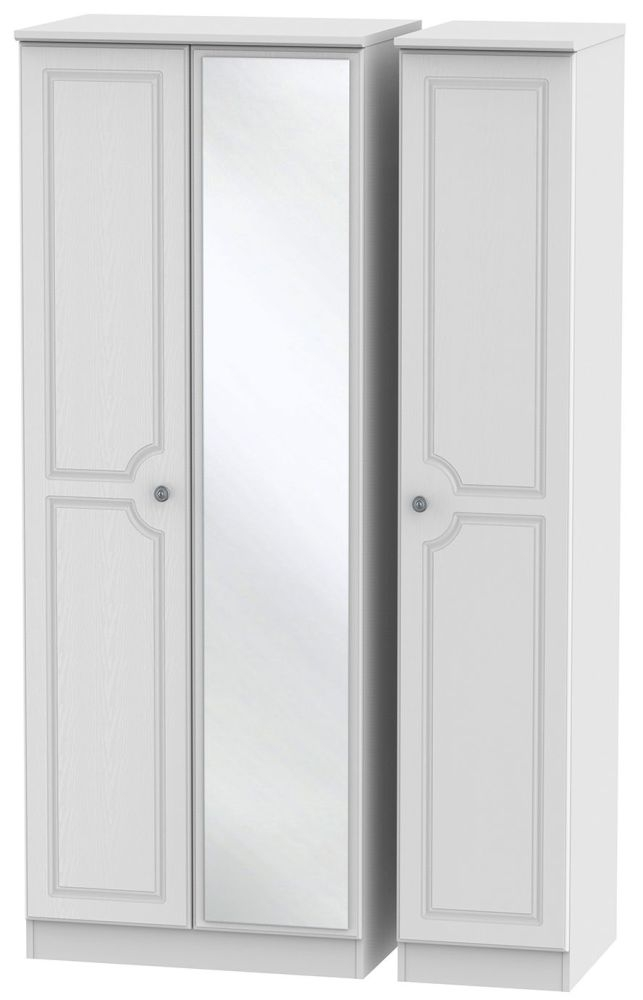 Pembroke White 3 Door Tall Mirror Triple Wardrobe