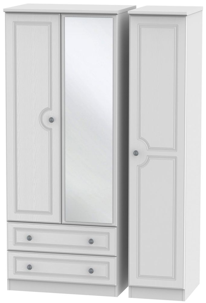 Pembroke White 3 Door 2 Left Drawer Mirror Triple Wardrobe