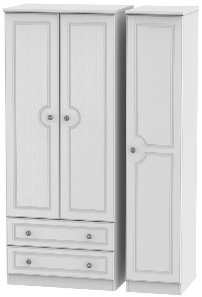 Pembroke White 3 Door 2 Drawer Triple Wardrobe