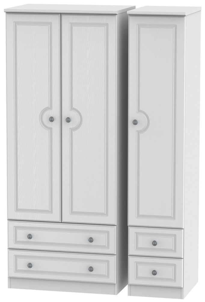 Pembroke White Triple Wardrobe with Drawer