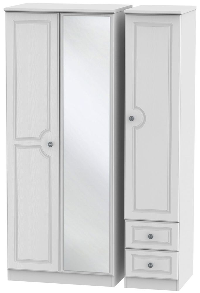 Pembroke White 3 Door 2 Right Drawer Mirror Triple Wardrobe