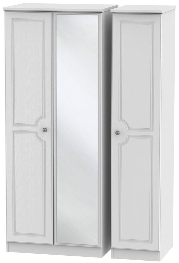 Pembroke White Triple Wardrobe with Mirror