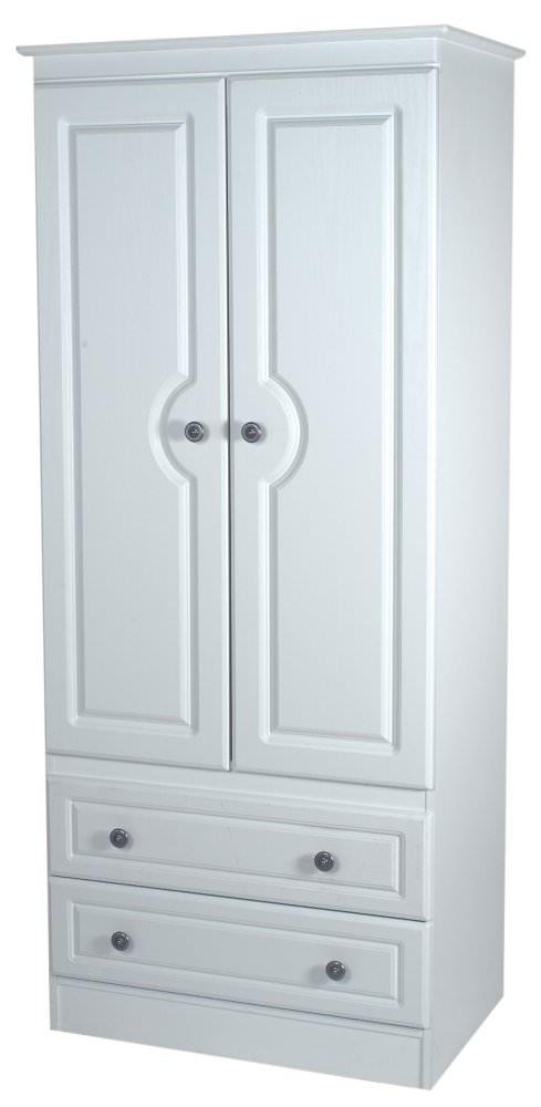 Pembroke White Wardrobe - 2ft 6in 2 Drawer