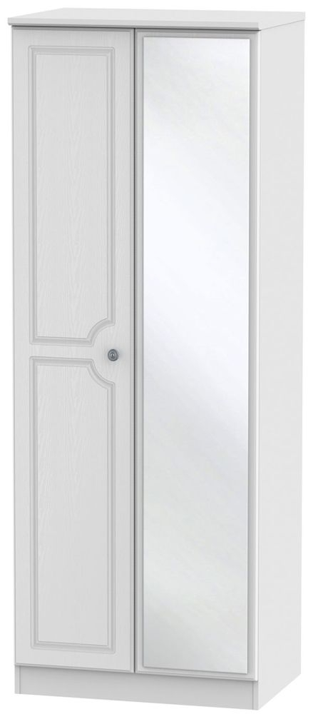 Pembroke White 2 Door Tall Mirror Double Wardrobe
