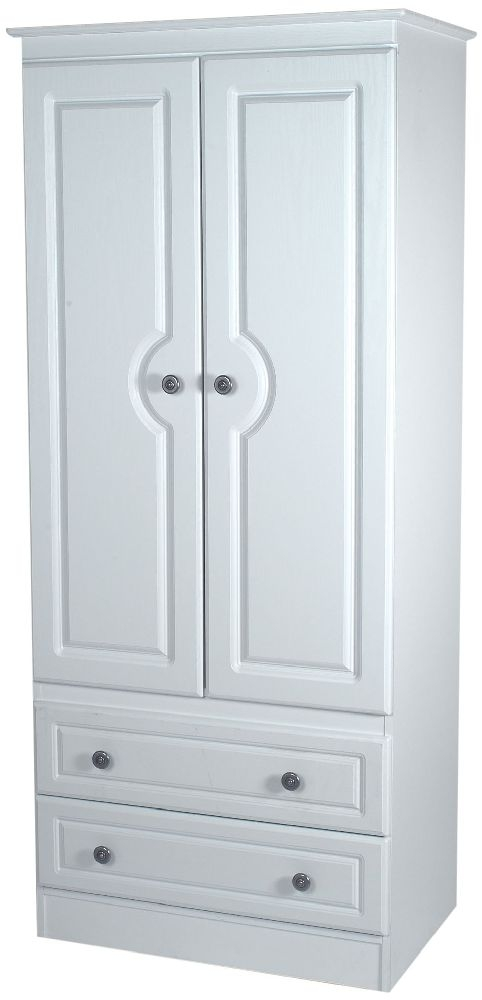 Pembroke White Wardrobe - Tall 2ft6in 2 Drawer