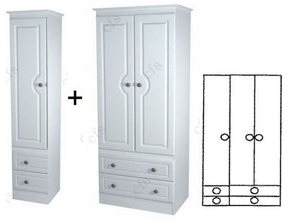 Pembroke 3 Door Combi Wardrobe with Drawer