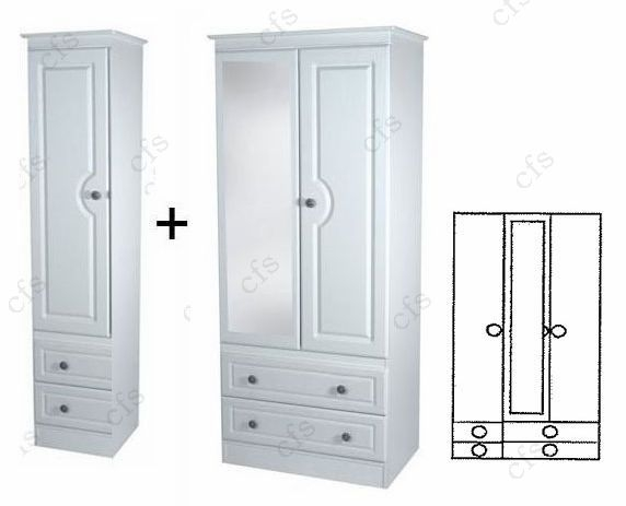 Pembroke 3 Door Combi Wardrobe with Mirror and Drawer
