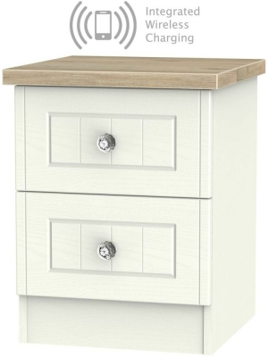 Rome 2 Drawer Bedside Cabinet with Integrated Wireless Charging - Bordeaux Oak and Cream Ash