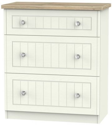 Rome 3 Drawer Deep Chest - Bordeaux Oak and Cream Ash