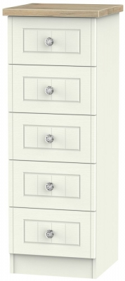 Rome 5 Drawer Tall Chest - Bordeaux Oak and Cream Ash
