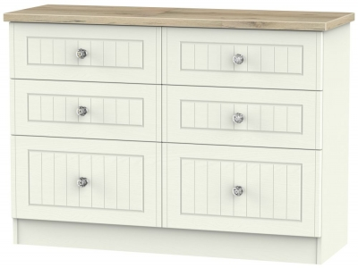 Rome 6 Drawer Midi Chest - Bordeaux Oak and Cream Ash