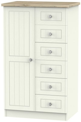 Rome 1 Door Children Wardrobe - Bordeaux Oak and Cream Ash
